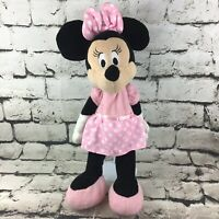 "Disney Baby Minnie Mouse 18"" Plush Doll Pink Polka Dot Crinkle Ears Sensory Toy"