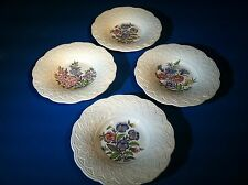"""4 Wedgwood Etruria Garden Party Rimmed Soup Bowls 8 5/8"""" Cream Colored"""