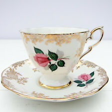 Vintage Royal Standard Bone China Pattern 2190 Pink Rose Gold Tea Cup Saucer Duo