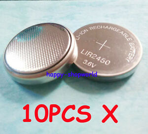 10 pcs 3.6V LiR2450 Rechargeable Coin Button Cell Battery Li-ion replace CR2450