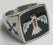 NATIVE PHONIEX SYMBOL STAINLESS STEEL RING size 8 silver metal S-511 fire bird