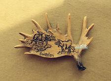Sweden Travel Souvenir GIFT Deer Moose Elk Antlers Shaped 3D Resin Fridge Magnet