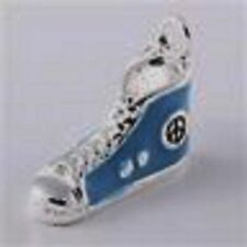 SILVER & BLUE SNEAKER SHOE BOOT -SILVER PLATE-CLIP-ON CHARM FOR BRACELETS - NEW
