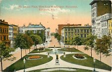 1914 Mt Vernon Place, West from Washington Monument, Baltimore Maryland Postcard