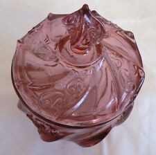 VINTAGE FENTON PINK CANDY DISH WITH LID PAISLEY SWIRL DESIGN