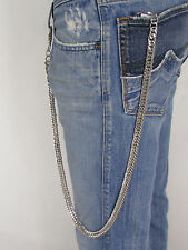 "Biker Thick Silver Heavy Metal 30"" Extra Long Wallet Chunky Chains KeyChain Rock"