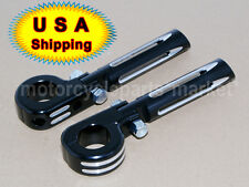 "32mm 1.25"" Black Deep Edge Cut Highway Engine Guard Foot Pegs Mount For Harley"