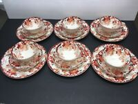Vintage Moriage 18 Pc Set, 6 Each Dessert Plates Saucers Cups Japan