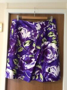 PHASE EIGHT Purple Floral SILKY Skirt SIZE 14 Fully Lined