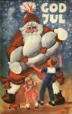 Swedish Christmas - Giant Santa Claus A/S Geepd Great Color Postcard