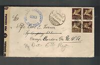 1945 Rome Italy Prisoner of War POW Censored Cover to Camp Gordon Georgia USA