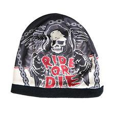 RIDE OR DIE Beanie Knit Cap Motorcycle Biker Hat Ski Snowboard Skull Grim Reaper