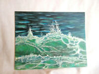 Original Acrylic Painting 8 x10 Canvas Panel Breaking Wave Beach art