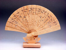 "12"" Bone Trees Peaches Flowers Birds 4 Immortals Hand Carved Painted Fan & Stand"