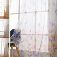 Butterfly Tulle Voile Window Curtain Door Room Sheer Panel Curtain Scarf Valance