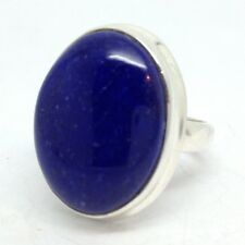 Lapis Lazuli Ring Oval solid Sterling Silver UK Size N, New, Solitaire. UK