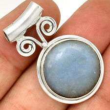 Owl - Angelite 925 Sterling Silver Pendant Jewelry PP211546