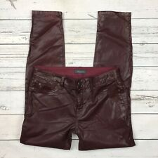 Level 99 Skinny Jeans Size 30 Womens Coated Denim Waxed Burgundy Red Stretch