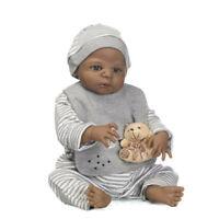 """Lifelike Full Body Silicone African American Reborn Baby Boy Doll XMAS Gift 23"""""""