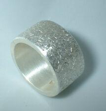 12 mm breiter Bandring ,Struktur, Silber 999, Flamere Design by Dieter Fischer