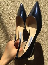 Jimmy Choo Lucy Pointed-toe Flats Metallic Blue 37.5 RRP$775 Sold out