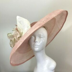 Exclusive Pink & Cream Millinery by Hat Couture Wedding Bridal Race Hat