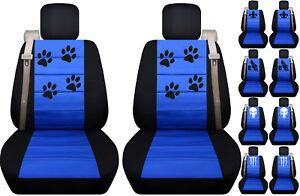 Fits Chevy trailblazer /GMC envoy front car seat cover black-blue w/fleur...