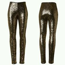 Sequin Leggings S M L Bronze Gold Fully Lined Womens Skinny Fit Pants