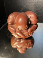 Vintage Wooden Hand Carved Weeping BUDDA crying Figurine 5 inch