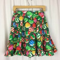 Circle Skirt Vintage Ornament Festive Holiday Print Ruffle Square Dance Clogging