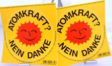 2 große Aufkleber + ATOMKRAFT ? NEIN DANKE + Lizenz + Lachende Anti-Atom-Sonne +