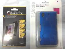 New Body Glove Elite Stand Case Sony Xperia Z1s Blue + Zagg Full Body Dry Combo