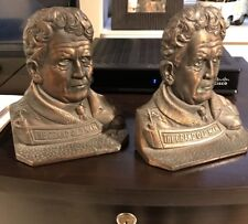 IRON BRONZE  AMOS ALONZO STAGG BOOKENDS WESTERN FOUNDRY 1920 FOOTBALL ANTIQUE