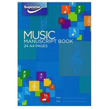 A4 Supreme Stationery Blue Music Manuscript Book 12 Staves Per Page Music Theory
