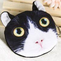 SOFT FURRY BLACK WHITE CAT COIN PURSE CHILDRENS KIDS BAG MAKEUP TABBY KITTEN UK