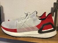 Men's Adidas UltraBoost 19 Running Shoes White Red Black Size 12.5 EF1341 nmd