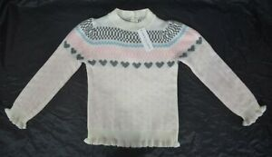 NWT $54 Size 8 & 12 Janie and Jack Multi Heart Fair Isle Cream & Sugar Sweater