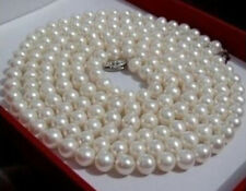 8-9mm white Nearly round Freshwater pearl necklace 50""