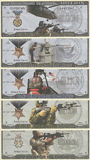 US MILITARY MILLION DOLLAR MISSION STATEMENT NOVELTY NOTES LOT OF 5 GREAT GIFT