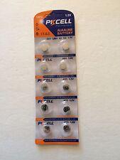 PKCell AG3 LR41 G3 192 1.5v Alkaline Battery Button 10-Pc Card New