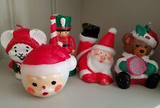 Vtg Lot 5 Holiday Christmas Candles Santa Snowman Soldier Caroling Mouse Bear
