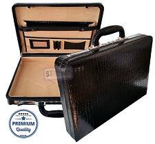 Genuine Leather Croc Finish Mens/Ladies Slimline Executive Attache Briefcase Bag