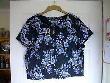 Black & multi colour blurred floral cap/short sleeved scuba boxy crop top UK 16