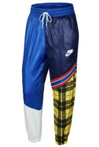 Nike Sportswear NSW Woven Plaid Pants Joggers Blue CI7917-492 Women's Size Small