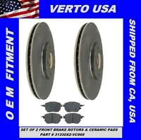Front Brake Rotors, Ceramic Pads For Nissan Maxima 2004-2005-2006-2007-2008