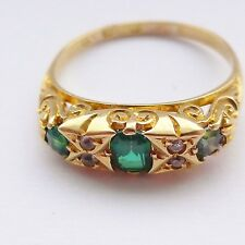 Amazing Victorian Garnet Topped Doublet Ring Green To Imitate Emeralds - 18ct