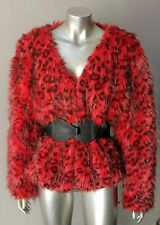 Lynx Vintage 80s 90s Animal Print Retro Boho Hippy Faux Fur Red Jacket Coat S+M