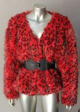 Lynx Vintage 80s 90s Animal Print Retro Boho Hippy Faux Fur Red Jacket Coat S+M