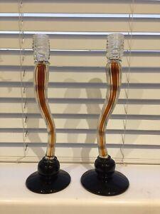 Vintage pair tall Italian murano glass candlesticks