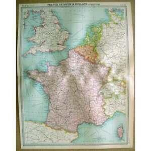 FRANCE BELGIUM & HOLLAND Political - Vintage Map 1922 by Bartholomew